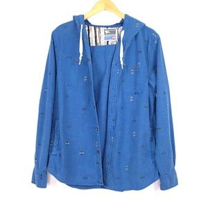 Modern Amusement Hooded Shirt Jacket Size Med Blue